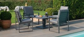Maze - Amalfi 4 Seat Square Dining Set - With Rising Table - Grey
