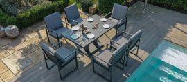 Maze - Amalfi 6 Seat Rectangular Dining Set - With Rising Table - Grey