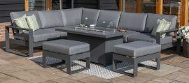 Maze - Amalfi Large Corner Dining Set - With Firepit Table & Footstools - Grey