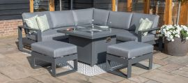 Maze - Amalfi Small Corner Dining Set - With Firepit Table & Footstools - Grey