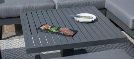 Maze - Amalfi Square Corner Dining Set - With Rising Table & Footstools - Grey