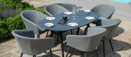 Maze Lounge - Outdoor Fabric Ambition 6 Seat Oval Dining Set - Flanelle