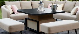 Maze Lounge - Outdoor Fabric Ambition Corner Group - With Rising Table - Taupe