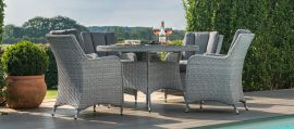 Maze Rattan - Ascot 4 Seat Round Dining Set - With Weatherproof Cushions