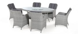 Maze Rattan - Ascot 6 Seat Oval Dining Set - With Lazy Susan & Weatherproof Cushions