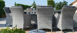 Maze Rattan - Ascot 8 Seat Oval Dining Set - With Lazy Susan & Weatherproof Cushions