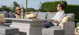 Maze Rattan - Ascot Rectangular Corner Dining Set - With Rising Table & Weatherproof Cushions