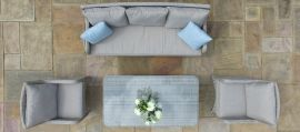 Maze Rattan - Cotswold 3 Seat Sofa Dining Set - With Rising Table & Footstools