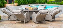Maze Rattan - Cotswold Reclining 8 Seat Round Dining Set - With Rattan Lazy Susan