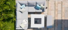 Maze Lounge - Outdoor Fabric Pulse Square Corner Dining Set - With Fire pit Table - Lead Chine