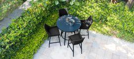Maze Lounge - Outdoor Fabric Regal 4 Seat Round Bar Set - Charcoal