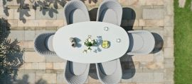 Maze Lounge - Outdoor Fabric Ambition 6 Seat Oval Dining Set - Lead Chine