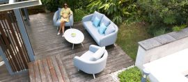 Maze Lounge - Outdoor Fabric Ambition 3 Seat Sofa Set - Lead Chine