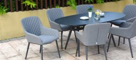 Maze Lounge - Outdoor Fabric Zest 6 Seat Oval Dining Set - Flanelle