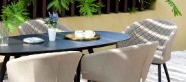 Maze Lounge - Outdoor Fabric Ambition 6 Seat Oval Dining Set - Taupe