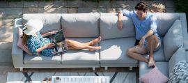 Maze Lounge - Outdoor Fabric Ethos Large Corner Group - Lead Chine