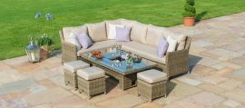 Maze Rattan - Winchester Corner Dining Set - With Ice Bucket & Rising Table