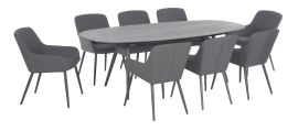 Maze Lounge - Outdoor Fabric Zest 8 Seat Oval Dining Set - Flanelle