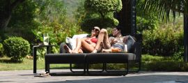 Maze Lounge - Outdoor Fabric Unity Double Sunlounger - Charcoal