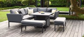 Maze Lounge - Outdoor Fabric Pulse Square Corner Dining Set - With Rising Table - Flanelle