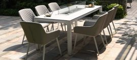 Maze Lounge - Outdoor Fabric Zest 8 Seat Rectangular Dining Set - With Fire pit Table - Lead Chine