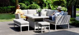 Maze Lounge - Outdoor Fabric Pulse Corner Dining Set - With Rising Table - Lead Chine