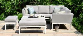 Maze Lounge - Outdoor Fabric Pulse Square Corner Dining Set - With Rising Table - Lead Chine