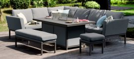 Maze Lounge - Outdoor Fabric Rectangular Pulse Corner Dining Set - With Fire pit Table - Flanelle