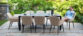 Maze Lounge - Outdoor Fabric Zest 8 Seat Rectangular Dining Set - With Fire pit Table - Taupe