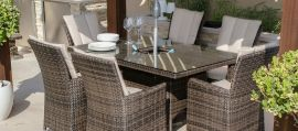 Maze Rattan - LA 6 Seat Rectangular Dining Set - With Ice Bucket - Brown