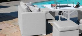 Maze Lounge - Outdoor Fabric Fuzion Cube Sofa Set - With Fire pit - Lead Chine