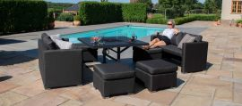 Maze Lounge - Outdoor Fabric Fuzion Cube Sofa Set - With Fire pit - Charcoal