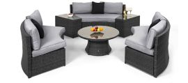 Maze Rattan - Half Moon Sofa Set - Grey