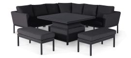 Maze Lounge - Pulse Deluxe Square Corner Dining Set - With Rising Table - Charcoal