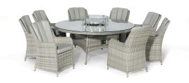 Maze Rattan - Oxford - Venice 8 Seat Round Fire pit Dining Set - With Lazy Susan