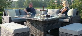 Maze Rattan - Deluxe Kingston Corner Dining Set - With Rising Table - Grey