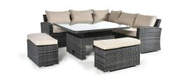 Maze Rattan - Deluxe Kingston Corner Dining Set - With Rising Table - Brown