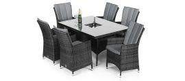 Maze Rattan - LA 6 Seat Rectangular Dining Set - With Ice Bucket - Grey