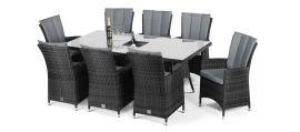 Maze Rattan - LA 8 Seat Rectangular Dining Set - With Ice Bucket - Grey