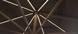 Maze Rattan - Titan 3m x 4m Rectangular Rotating Cantilever Parasol With LED Lights - Grey