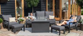 Maze - Manhattan Reclining 3 Seat Sofa Set with Fire Pit Table & Footstools