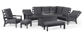 Maze - Manhattan Reclining Corner Dining Set - Fire Pit Table & Armchair