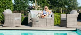 Maze Rattan - Oxford 2 Seat Set - With Firepit Coffee Table