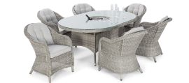 Maze Rattan - Oxford - Heritage 6 Oval Dining Set - With Ice Bucket & Lazy Susan