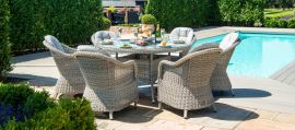 Maze Rattan - Oxford - Heritage 6 Seat Round Fire pit Dining Set - With Lazy Susan
