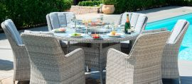 Maze Rattan - Oxford - Venice 6 Seat Round Fire pit Dining Set - With Lazy Susan