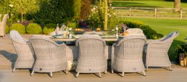 Maze Rattan - Oxford - Heritage 8 Seat Oval Fire pit Dining Set