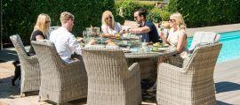 Maze Rattan - Oxford - Venice 8 Seat Oval Fire pit Dining Set