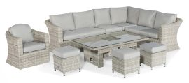 Maze Rattan - Oxford Deluxe Large Corner Dining Set - With Rising Table & Armchair