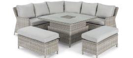 Maze Rattan - Oxford Royal Corner Dining Sofa Set - Rising Table